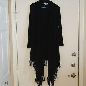 Joseph Ribkoff evening wear black shawl sweater